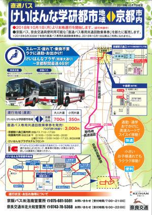 けいはんな学研都市~京都駅「直通バス」の本格運行開始について 【2018年10月1日(月)~】