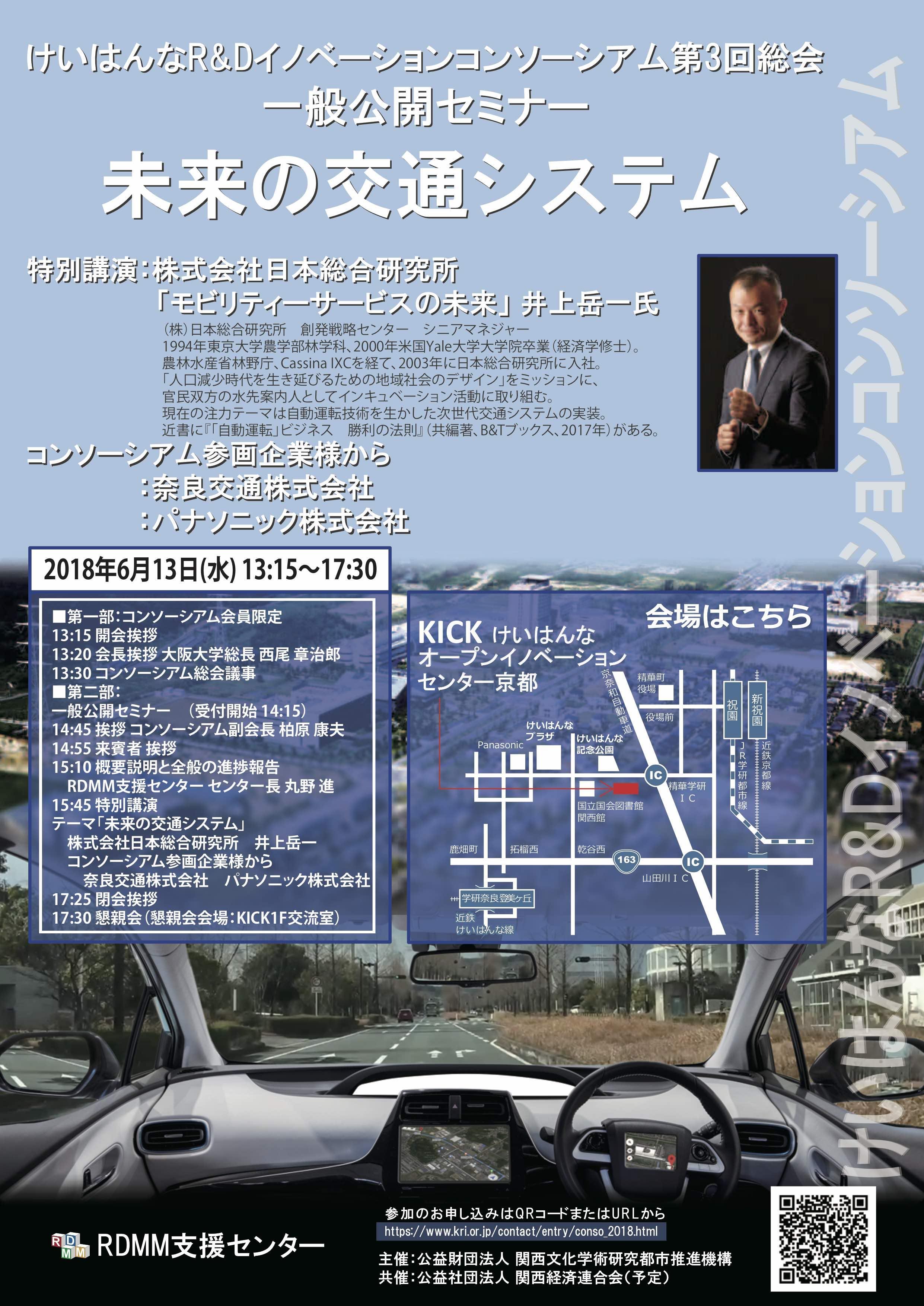 けいはんなR&Dイノベーションコンソーシアム第3回総会公開セミナー「未来の交通システム」